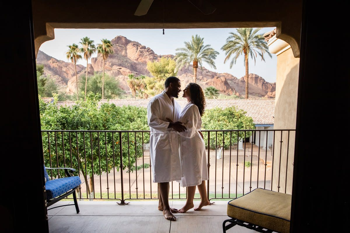 Guestroom patio overlooking Camelback Mountain at Omni Scottsdale Resort & Spa at Montelucia